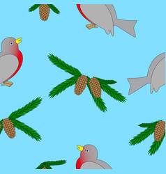 bullfinch and fir branch vector image
