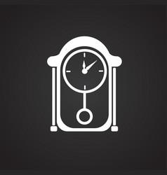 business clock desktop on black background vector image