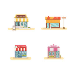 business store front set flat design vector image