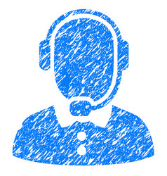Call center operator grunge icon vector