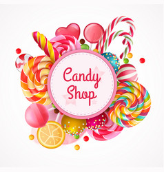 Candy shop round frame background vector