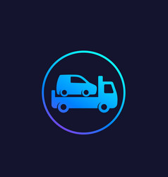 Car towing truck icon in circle vector
