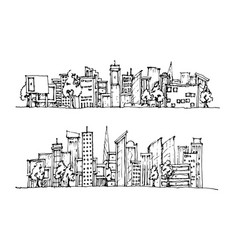 Cartoon hand drawing city vector