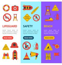 Cartoon lifeguard banner vecrtical set vector