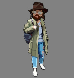 Cartoon man in tattered clothes with a beard vector