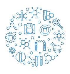 chemical industry blue round outline vector image