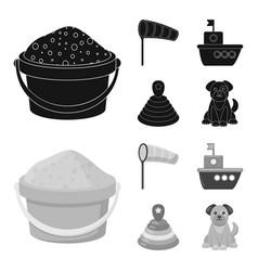 Children toy blackmonochrome icons in set vector