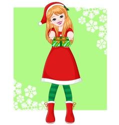 christmas girl vector image vector image