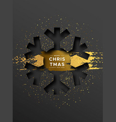 christmas new year card gold papercut snowflake vector image