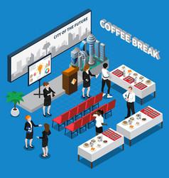 Coffee break isometric composition vector