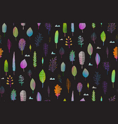 colorful leaves nature seamless pattern on black vector image