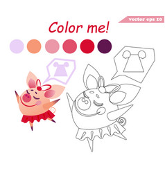 Coloring book with the dancing pig girl vector