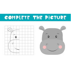 Complete picture a hippo copy picture vector