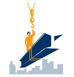 Construction Worker I-Beam Girder vector