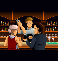 Couple in a bar with bartender vector