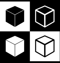 Cube sign black and white vector