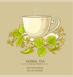 Cup of linden tea vector