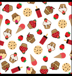 cupcake pattern white background vector image
