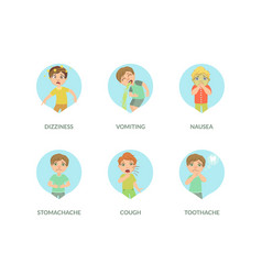 Cute boy suffering from different symptoms set vector