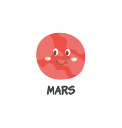 cute cartoon mars planet with smiling face vector image