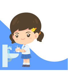 cute girl in student uniform washing hand vector image