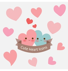 Cute pastel smiley heart with ribbon icon or card vector