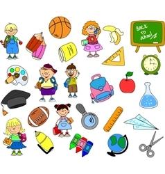 Cute school icon set vector
