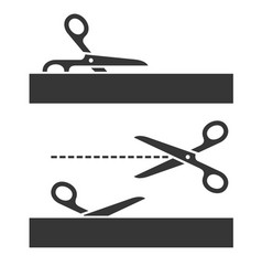 cutting scissors set with cut lines on white vector image
