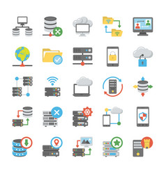 Data storage and databases flat icons vector
