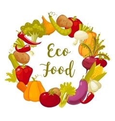 Eco food typographic poster with round decorative vector image