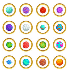 Fantastic planets icons circle vector
