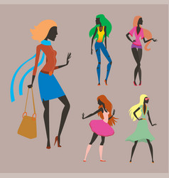 fashion look girl silhouette beautiful girl woman vector image