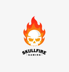 Fire skull design template vector