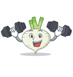 fitness turnip character cartoon style vector image