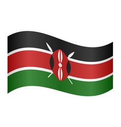flag of kenya waving on white background vector image