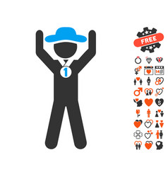 Gentleman champion icon with lovely bonus vector