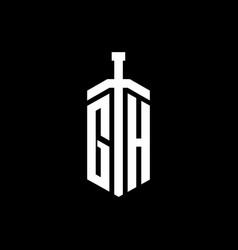 gh logo monogram with sword element ribbon design vector image