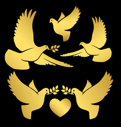 Gold flying doves on black vector