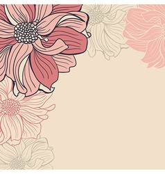 Greeting card with hand-drawn flowers of dahlia vector