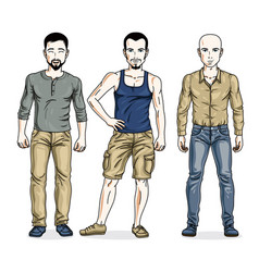 Handsome men group standing wearing casual vector