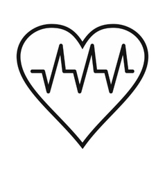 Heartbeat black simple icon vector image vector image