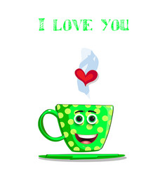 i love you greeting card with cute green coffee vector image