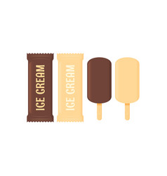 ice cream set stick icecream on white background vector image