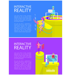 interactive reality text set vector image