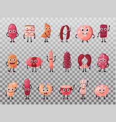 Isolated smiling isolated meat cartoon characters vector