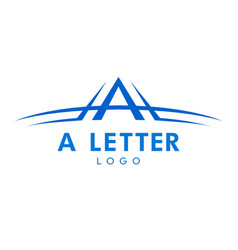 letter a logo with swoosh in blue color vector image