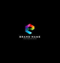 Letter logo e full color gradient vector
