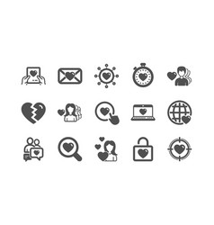 Love icons heart valentines day and vector