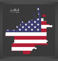 lubbock texas city map with american national flag vector image