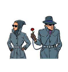 Man and woman secret agents spies isolate on vector